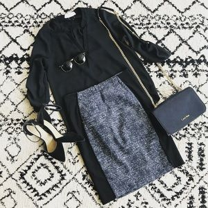 H&M Black and Grey Panel Pencil Skirt